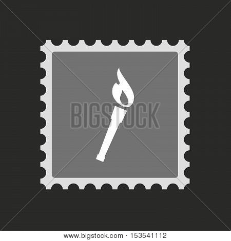 Isolated Mail Stamp Icon With  A Torch Icon
