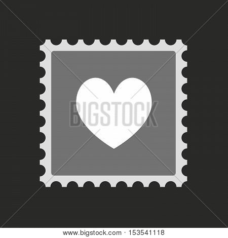 Isolated Mail Stamp Icon With  The Heart Poker Playing Card Sign