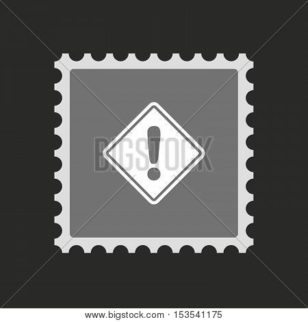 Isolated Mail Stamp Icon With   A Warning Road Sign
