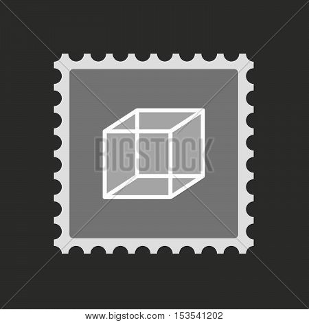 Isolated Mail Stamp Icon With  A Cube Sign