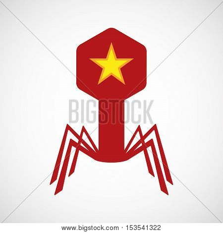 Isolated Virus Icon With  The Red Star Of Communism Icon