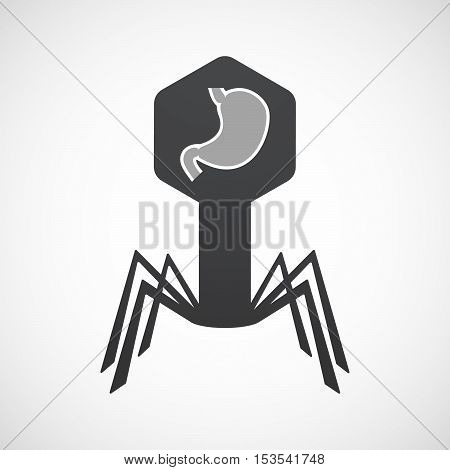 Isolated Virus Icon With  A Healthy Human Stomach Icon