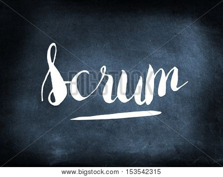 Scrum written on a blackboard