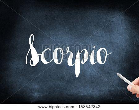 Scorpio written on a blackboard