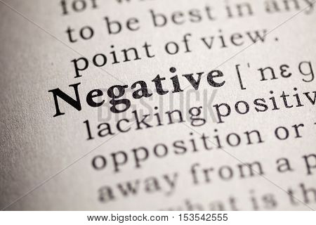 Fake Dictionary Dictionary definition of the word negative.