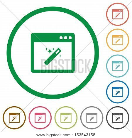 Application wizard flat color icons in round outlines