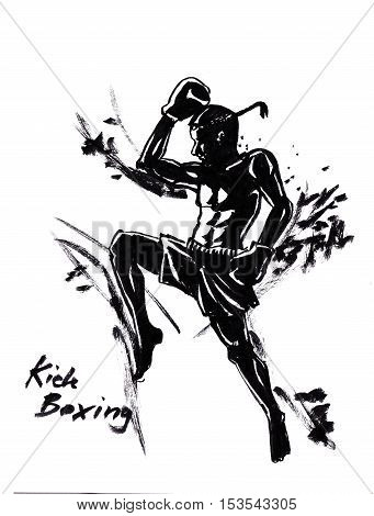 Thai kick boxing martial art illustration with chinese brush strong stroke