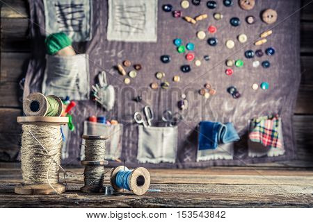 Background Made Of Needles, Threads And Buttons In Tailor Workshop