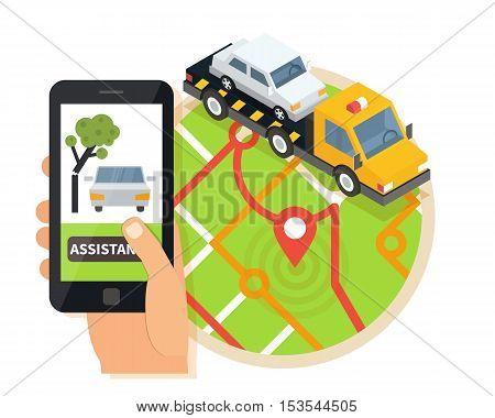Car towing truck, online roadside assistance. Car evacuator in mobile app. Flat design illustration