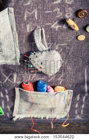 Handmade Sewing Cloth Made Of Needles, Threads And Buttons In Tailor Workshop