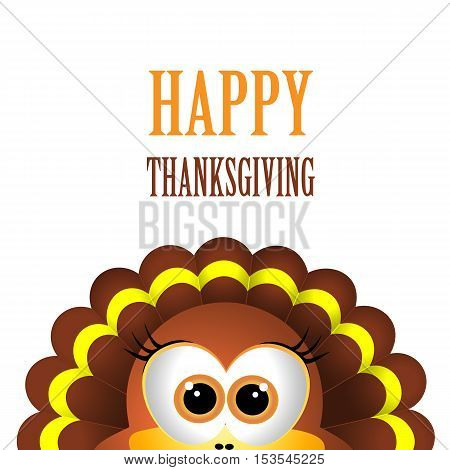 Card for Thanksgiving Day. Thanksgiving turkey on white background