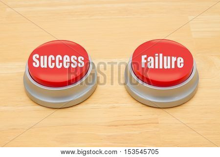 The difference between success and failure Two red and silver push button on a wooden desk with text Success and Failure
