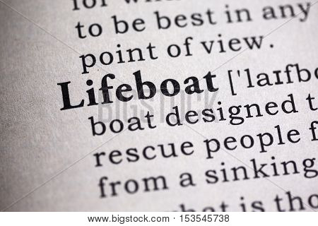 Fake Dictionary Dictionary definition of the word lifeboat.