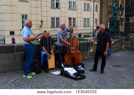 Prague Czech Republic - July 8 2015.Street musicians on Charles Bridge (Karluv Most).