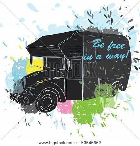 Vector illustration of isolated watercolor, spot and spray effect Camper, car Recreation transport, Vehicles Camper Vans Caravans Icons. Motor home. Object with text.