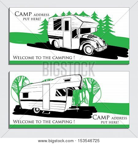 Vector illustration of cars Recreational Vehicles Camper Vans Caravans business card, icon, card template, flyer, invitation Transport for Camp.