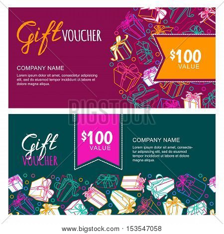 Vector Gift Voucher Template With Outline Multicolor Gift Box, Ribbons And Calligraphy.