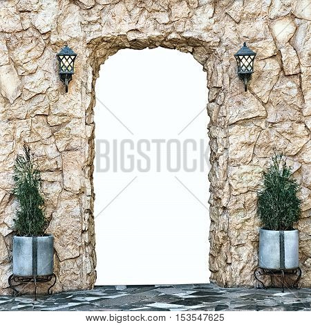 decorative arch of yellow stone with isolated opening