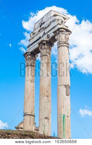 Ruins and columns of temple of Castor and Pollux in Roman Forum (Forum Romanum), Italy