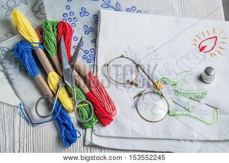 Homemade Embroidered Napkins Made Of Colored Threads