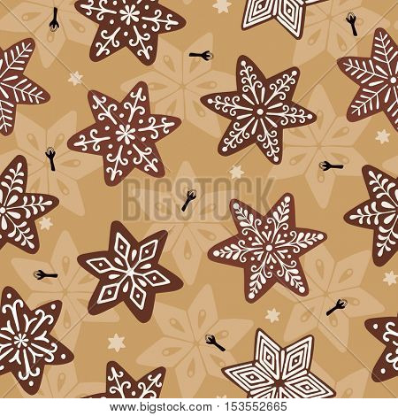 Seamless Christmas vector pattern with gingerbread stars