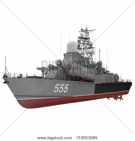 Missile Corvettes of the Soviet Navy Nanuchka class Project 1234 on white background. 3D illustration