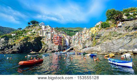 Coastline of Riomaggiore in summer season, Cinque Terre, Italy