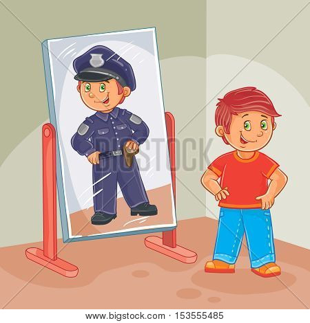 Vector illustration of a little boy dreams of becoming a police officer