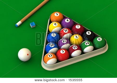 Billiard Set On Green