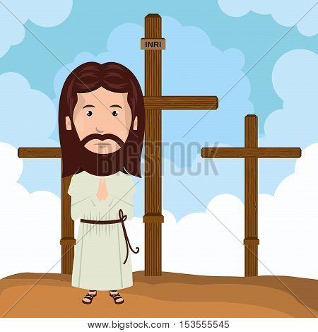 Jesus christ mount calvary design vector illustration eps10