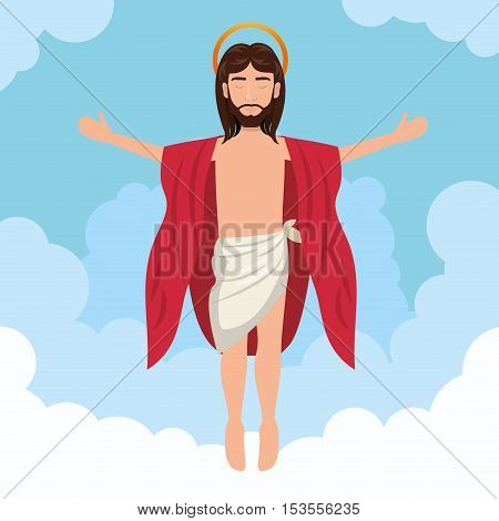 cartoon jesus christ ascension design vector illustration eps 10