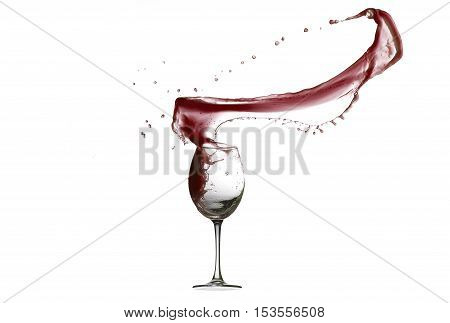 Red Wine Abstract Splashing isolated of white background.