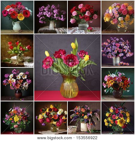 Collage from still lifes with bouquets. Flower background. Rose peony sunflower lupine phlox chrysanthemum Transvaal daisy tulip camomile lilac lily of the valley.