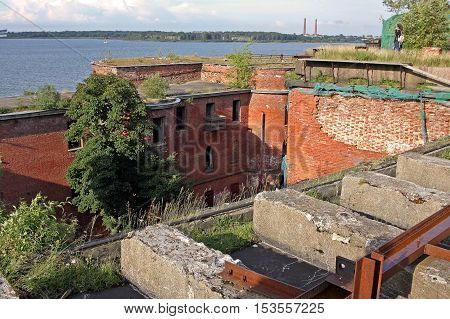 Kronstadt Russia - 10 July 2016: On the roof of the naval fort Alexander I or Plague Fort. In 1899-1917 the fort housed a research laboratory on plague and other bacterial diseases.