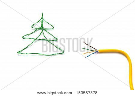 Christmas tree made from cables of Twisted pair RJ45 and yellow patch cord for Lan network. Concept of New Year Christmas internet connection communication