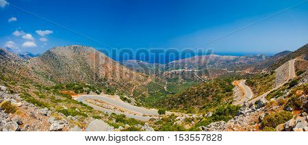 Breathtaking and beautiful mountain landscape with mountain asphalt road in Greece Crete