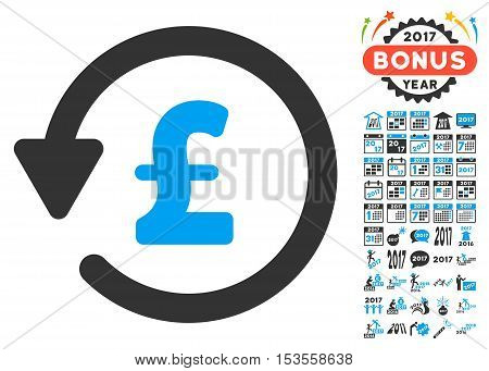 Pound Rebate icon with bonus 2017 new year images. Vector illustration style is flat iconic symbols, modern colors.