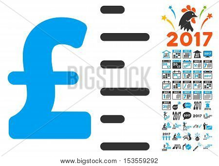 Pound Value pictograph with bonus 2017 new year pictograph collection. Vector illustration style is flat iconic symbols, modern colors.