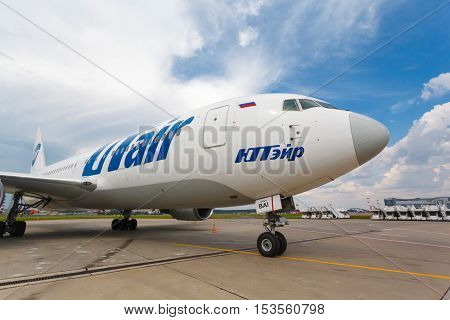 Moscow region, Vnukovo, Russia - July 02, 2016: Boeing 767-200 VP-BAI Utair Aviation standing at Vnukovo international airport