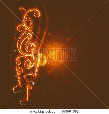 burning musical symbols and curls on a dark background