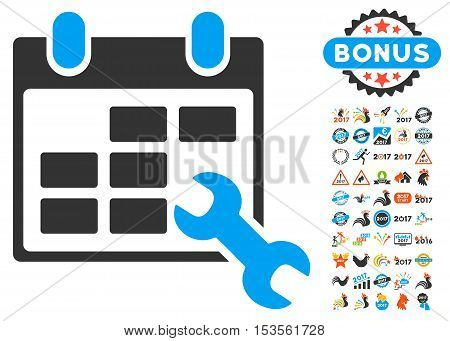 Configure Timetable pictograph with bonus 2017 new year pictures. Vector illustration style is flat iconic symbols, modern colors.