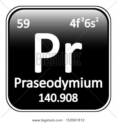 Periodic table element praseodymium icon on white background. Vector illustration.