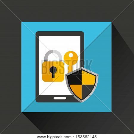 cartoon smartphone black with lock key security icon vector illustration