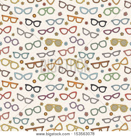 Eyeglasses doodle multicolored vector seamless pattern with flowers.