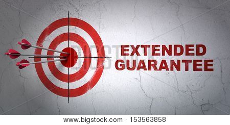 Success Insurance concept: arrows hitting the center of target, Red Extended Guarantee on wall background, 3D rendering