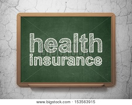 Insurance concept: text Health Insurance on Green chalkboard on grunge wall background, 3D rendering