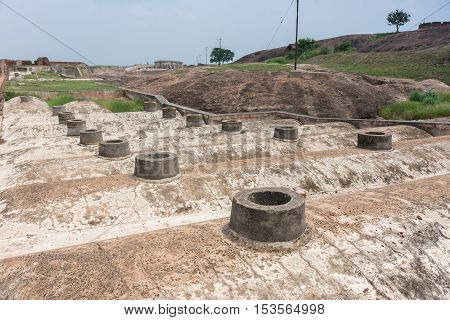 Dindigul India - October 23 2013: Ventilation shafts on top of bunkers and storerooms at Dindigul Rock Fort.