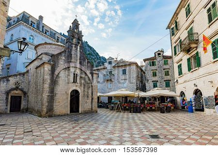 KOTOR MONTENEGRO - SEPTEMBER 21: This is the center of Kotor old town where you can find many cafes restaurants and ancient medieval architecture on September 21 2016 in Kotor
