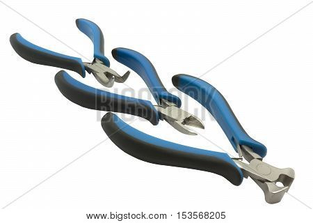 Round pliers wire cutters and cutting pliers isolated on white background