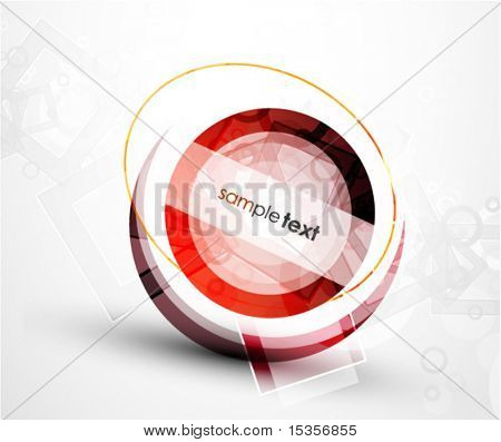 Abstract red round shape. Vector technology background